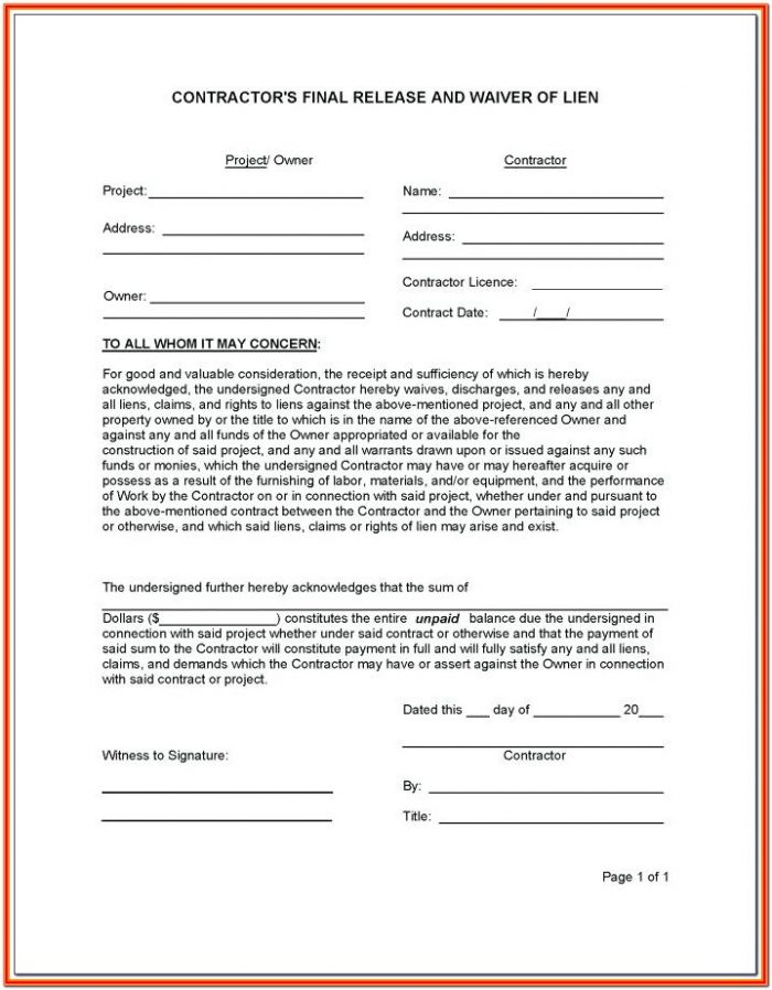 Printable Partial Lien Waiver Form