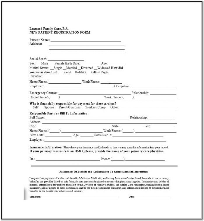 Printable Patient Registration Forms For A Medical Office