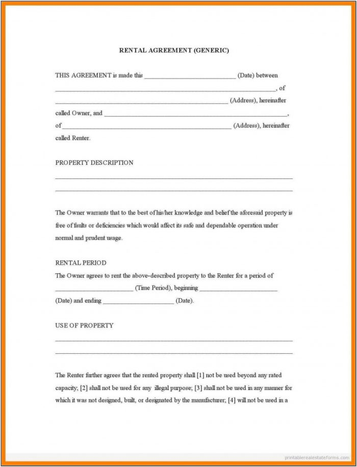 Printable Pdf Free Rental Agreement Forms