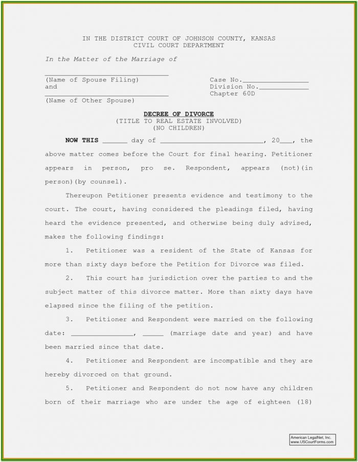 15 Divorce Papers Illinois Divorce Document – Kansas Divorce Forms With Kansas Divorce Forms