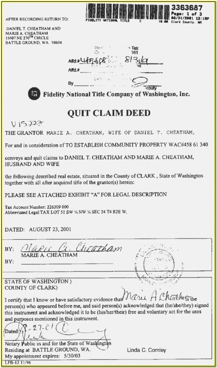 Quick Claim Deed Form Texas