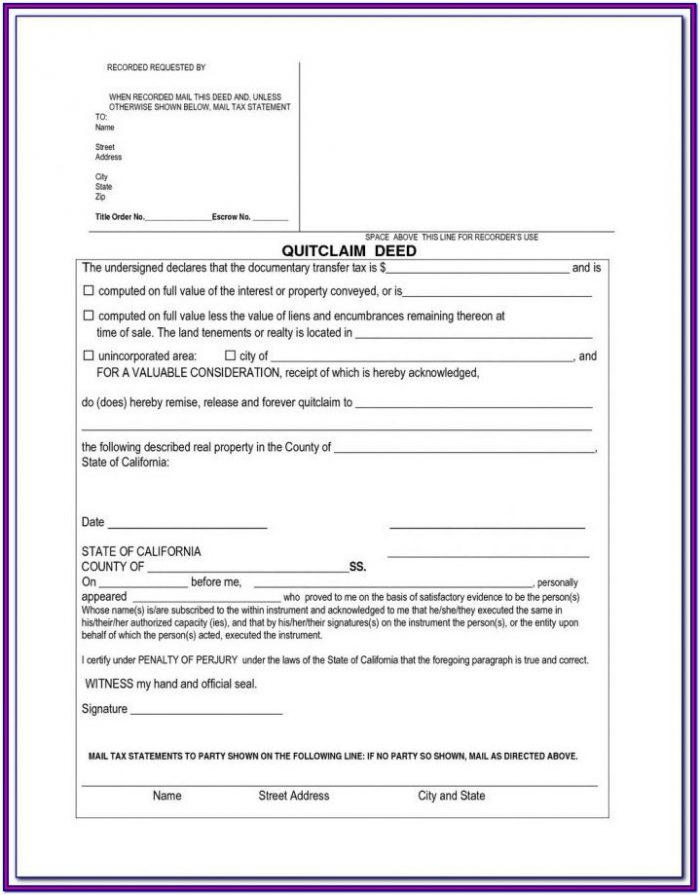Quick Claims Deed Form