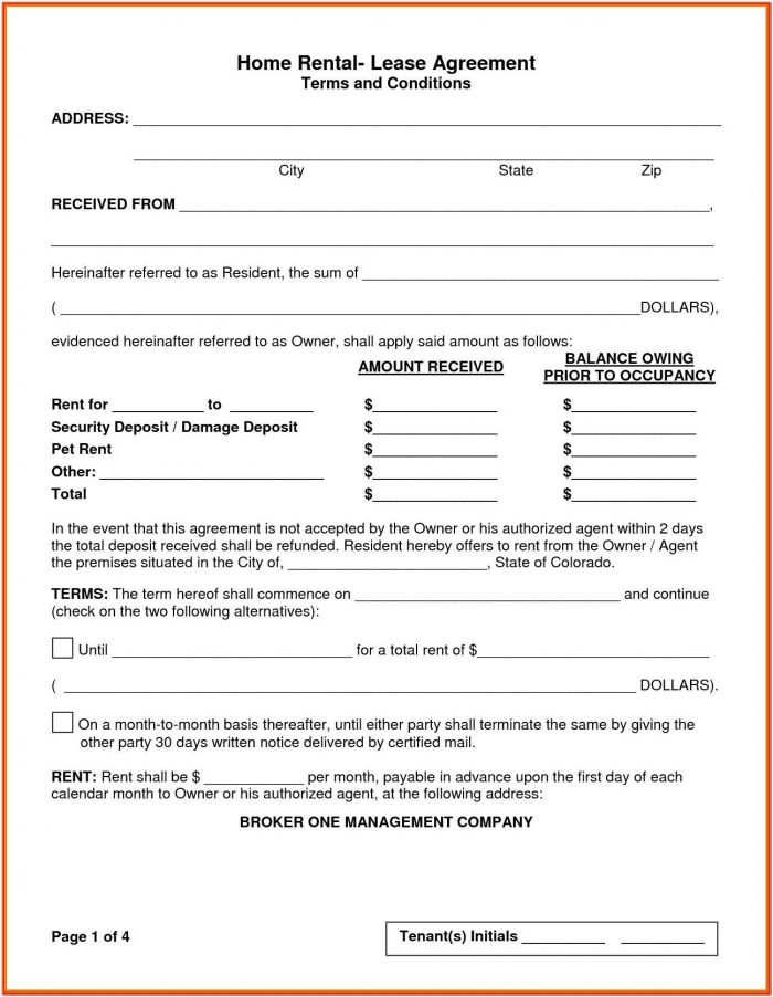 Rent Contract Form Sample