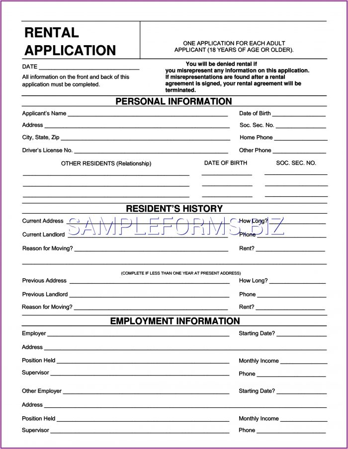 Rental Application Form Wisconsin Pdf