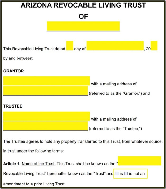 Revocable Living Trust Amendment Form Arizona