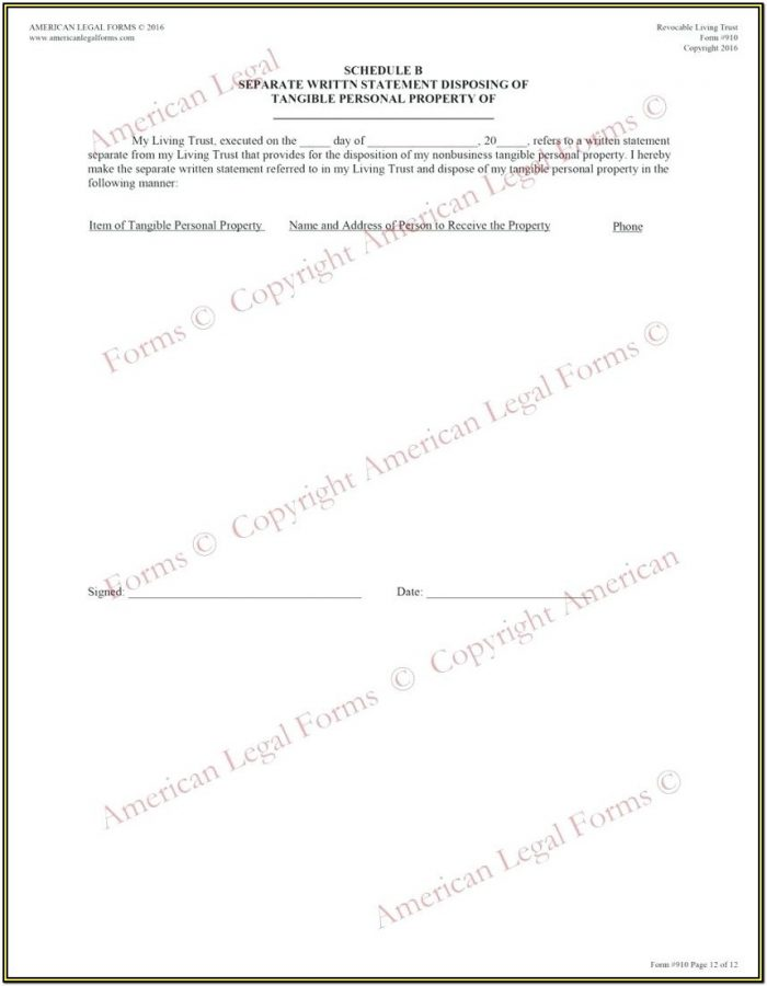 Revocable Living Trust Amendment Form Pdf