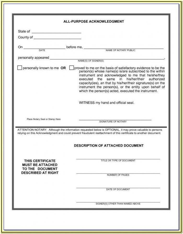 Sample Notary Forms Florida