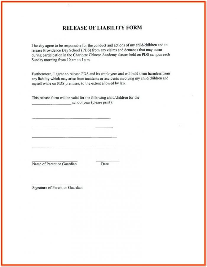 Simple Yoga Waiver Form Template