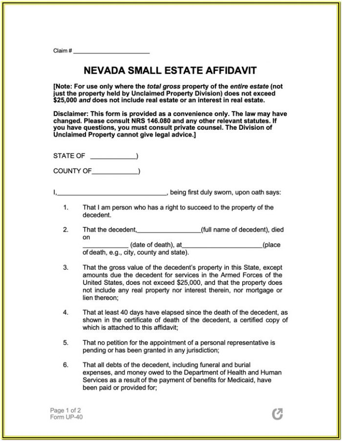 Small Estate Affidavit Form Pdf