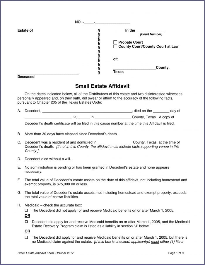 Small Estate Affidavit Form Texas
