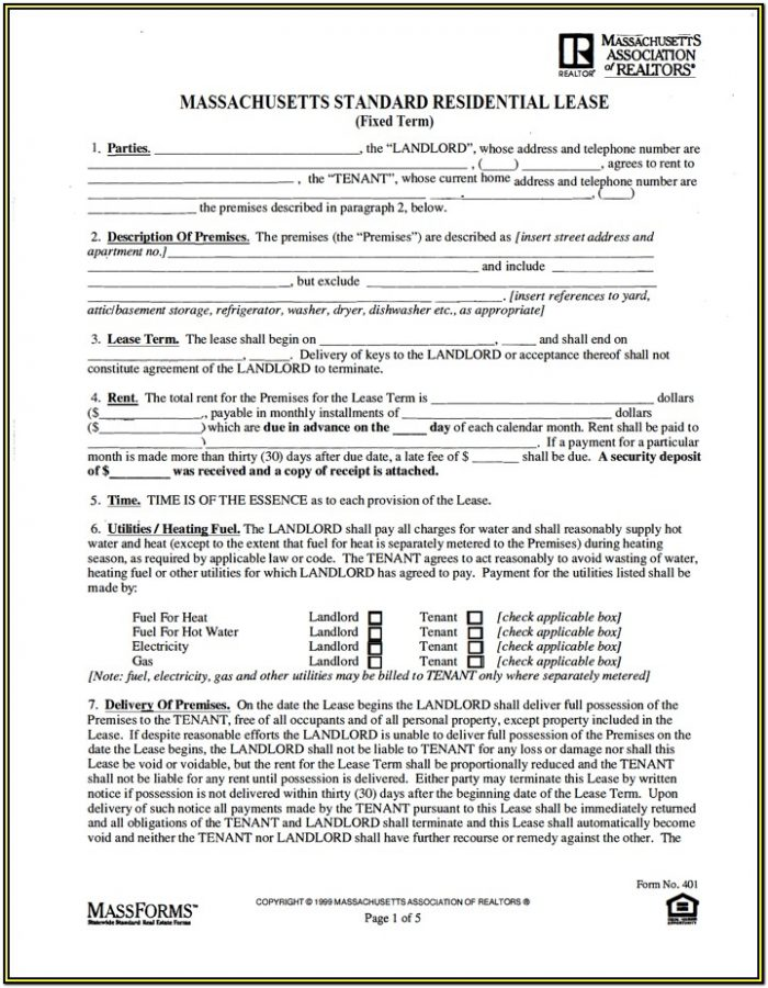 Standard Residential Lease Form