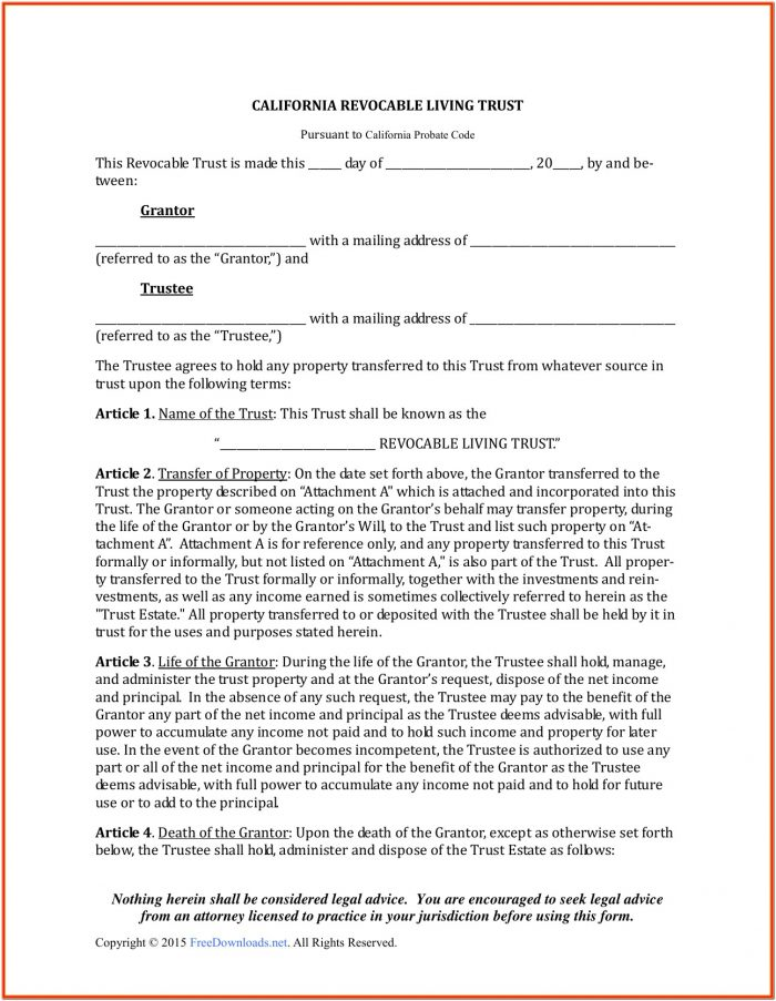 Texas Living Trust Forms Free