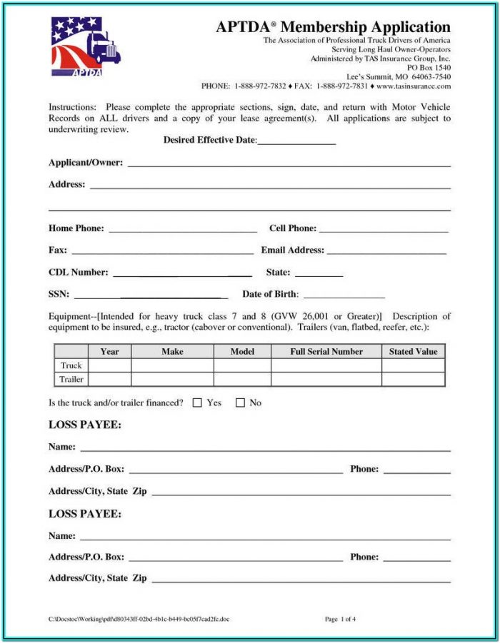 Truck Lease Owner Operator Lease Agreement Form Pdf