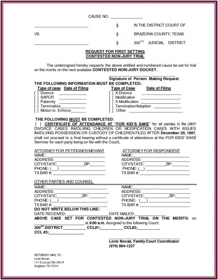 Uncontested Divorce Texas Forms