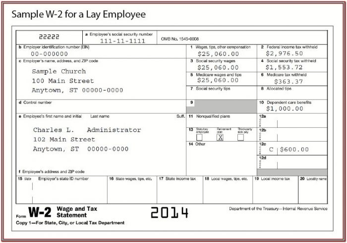 W2 Form For Employee To Fill Out