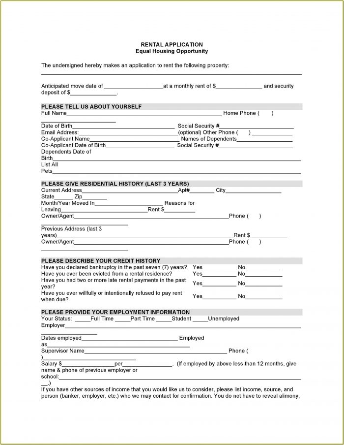 Word Document Rental Application Form Template Word