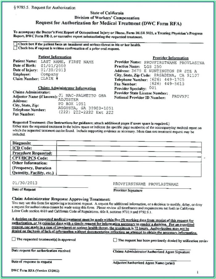 Workers Comp Mileage Form California