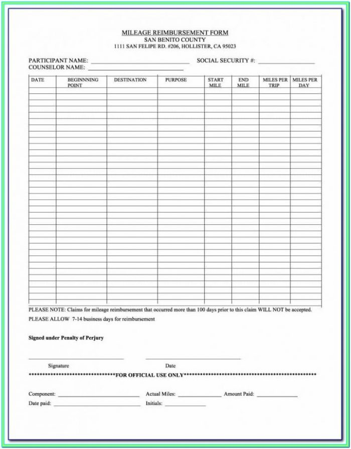 Workers Comp Mileage Reimbursement Form