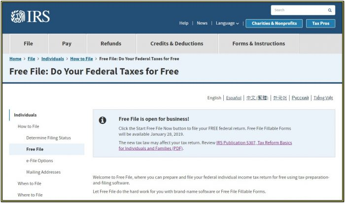 Wwwirsgov Free File Fillable Forms