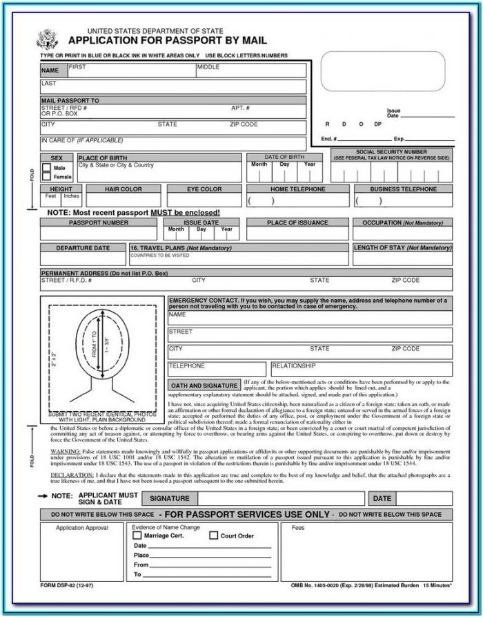 Application Form To Renew Passport