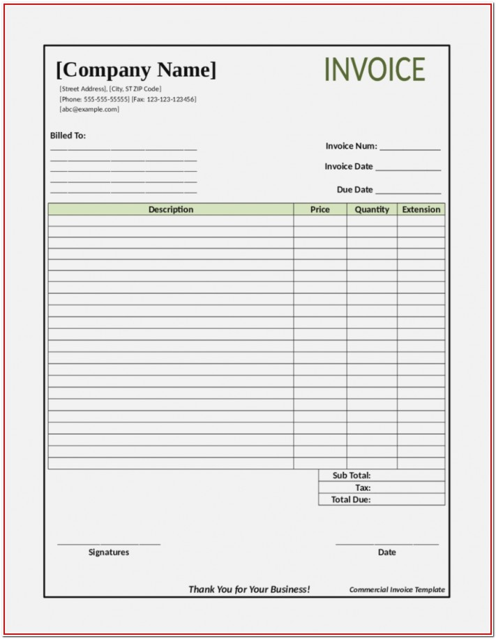 Blank Invoice Forms Free