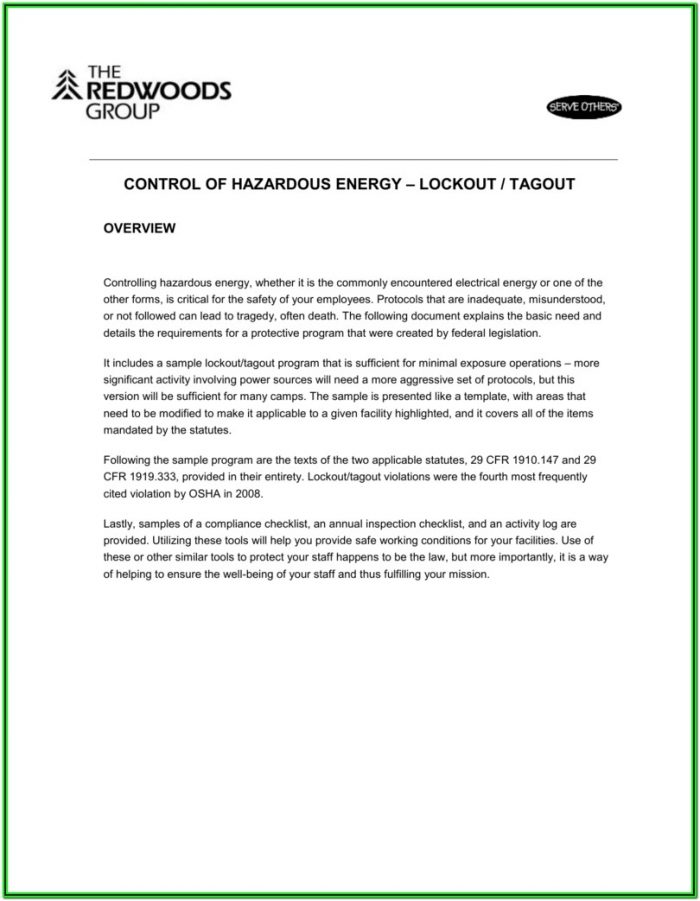 Checklist Lockout Tagout Form Template