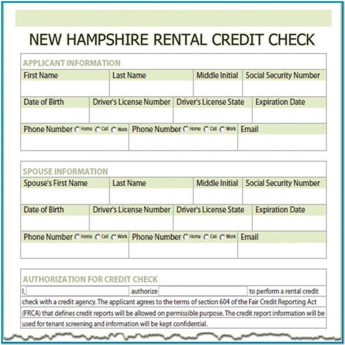 Credit Check For Landlords Form
