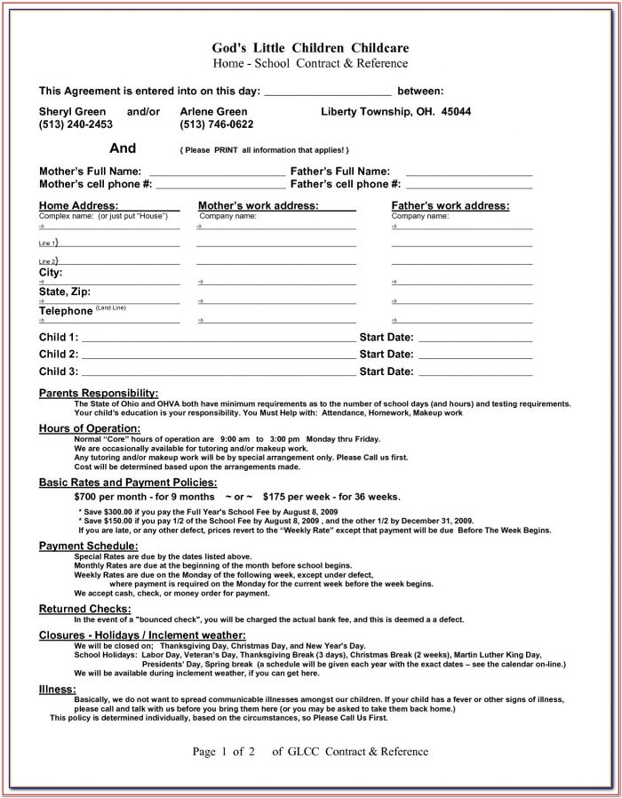 Daycare Agreement Form