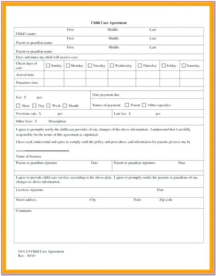 Daycare Child Care Agreement Form