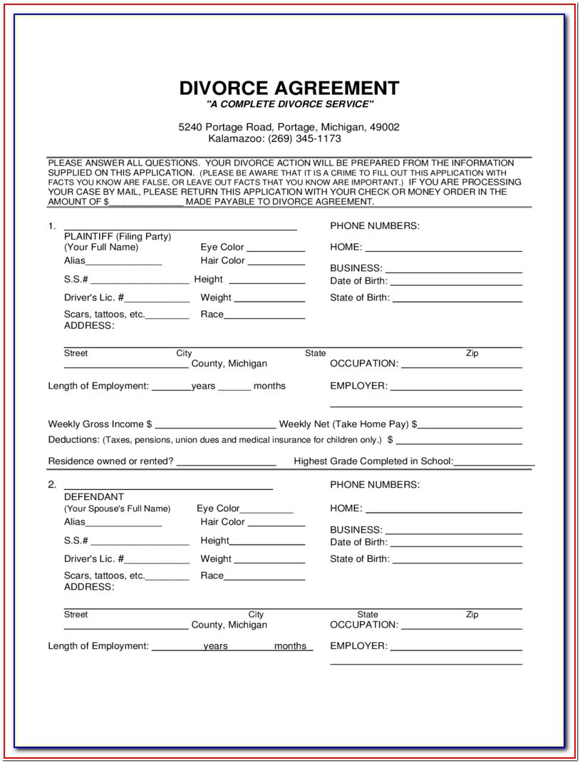 Divorce Forms In Michigan