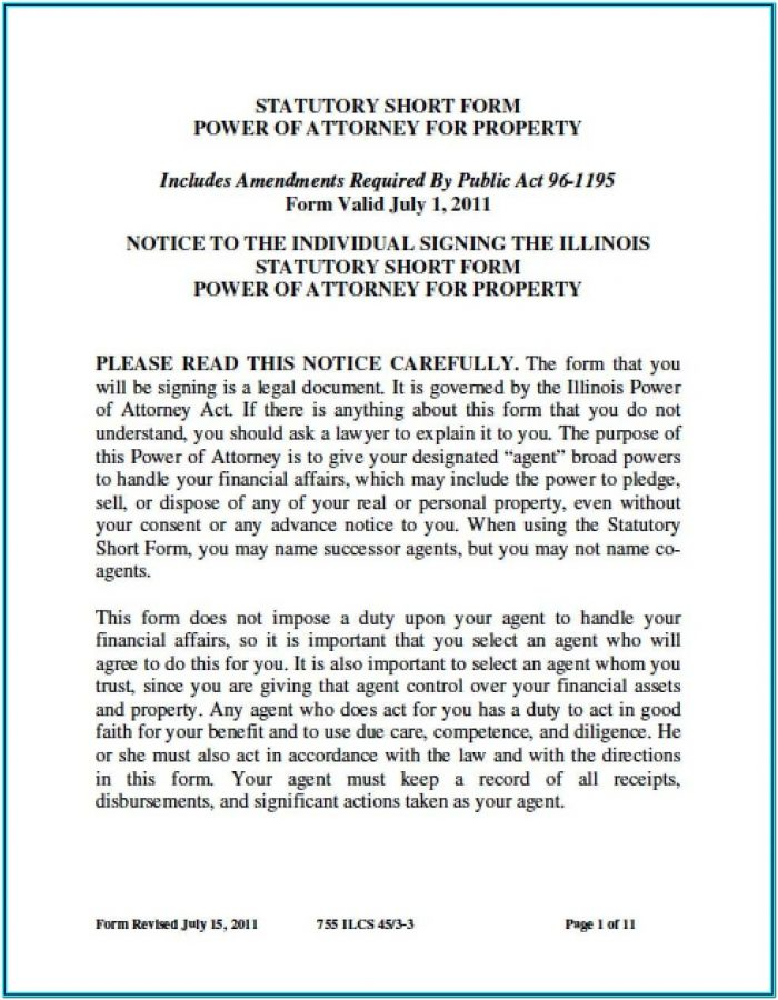 Durable Power Of Attorney Financial Form