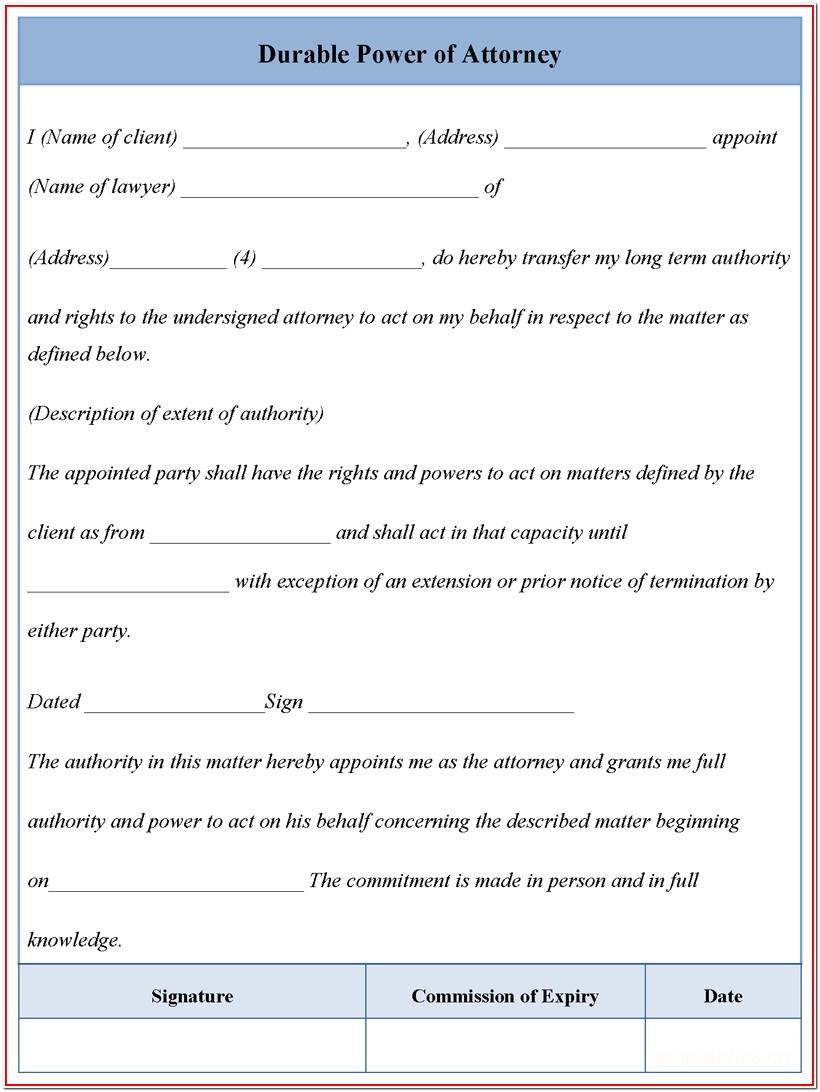 Durable Sample Power Of Attorney Form