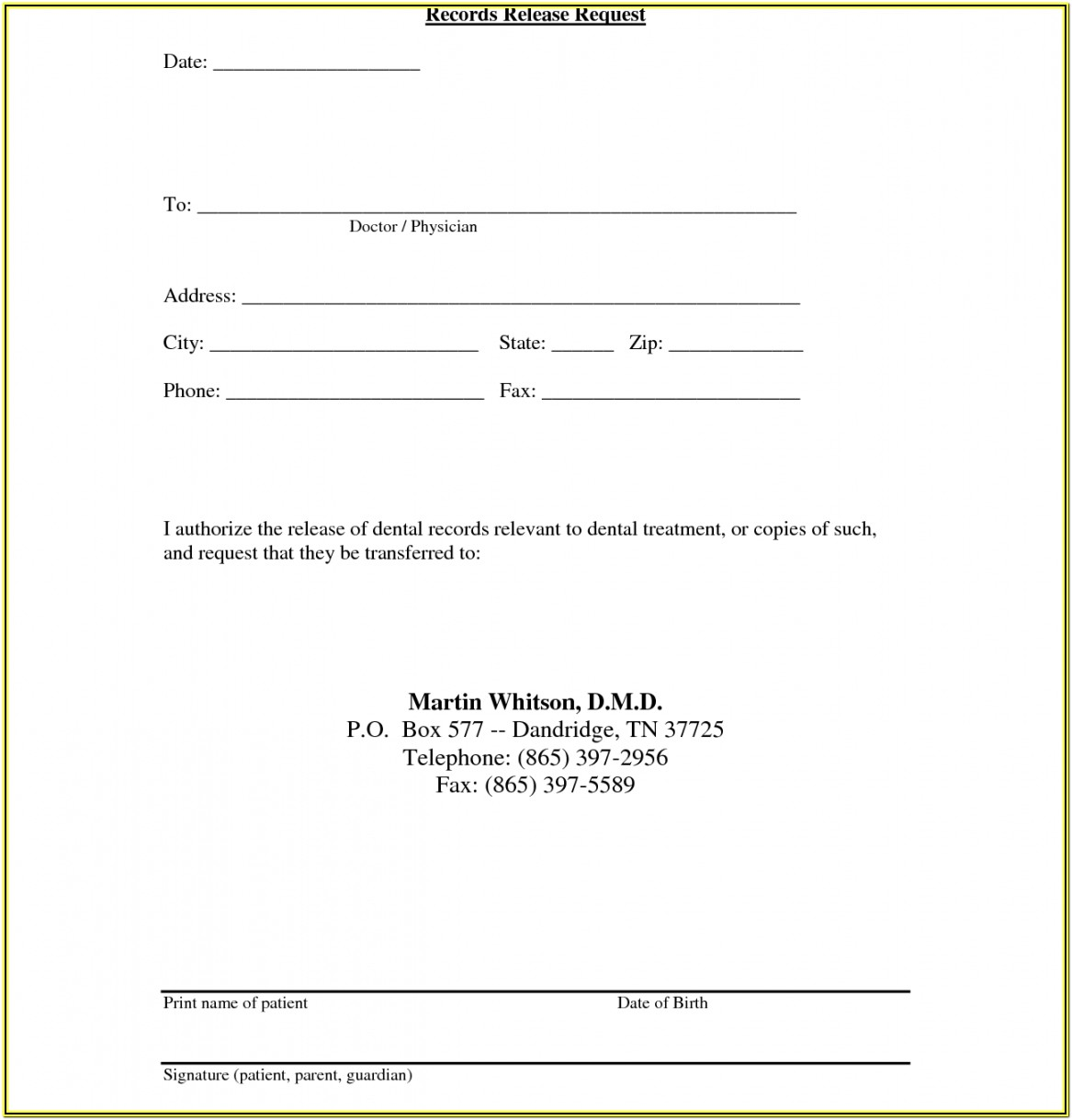 Hipaa Compliant Records Release Form