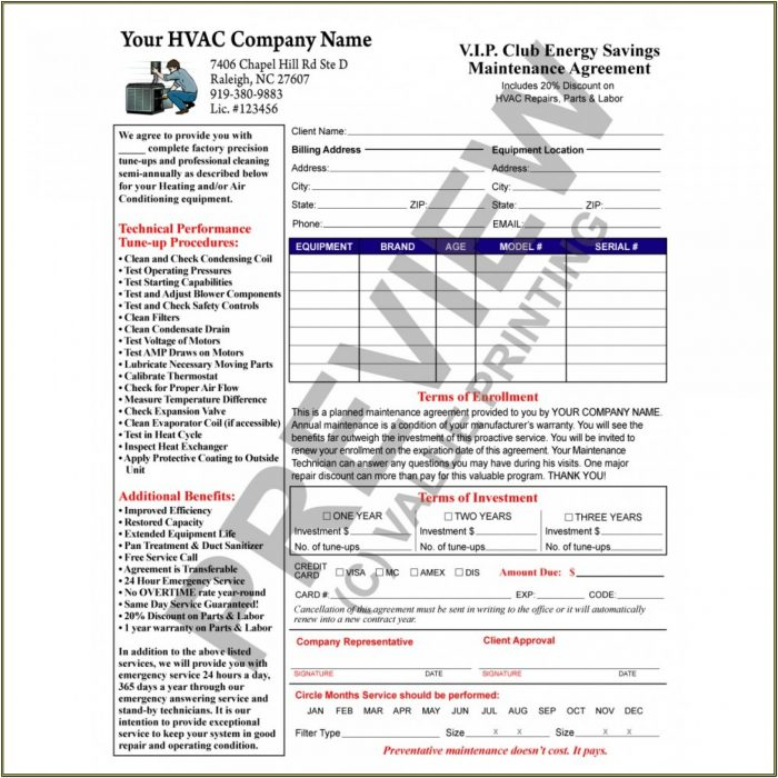 Hvac Service Contract Forms