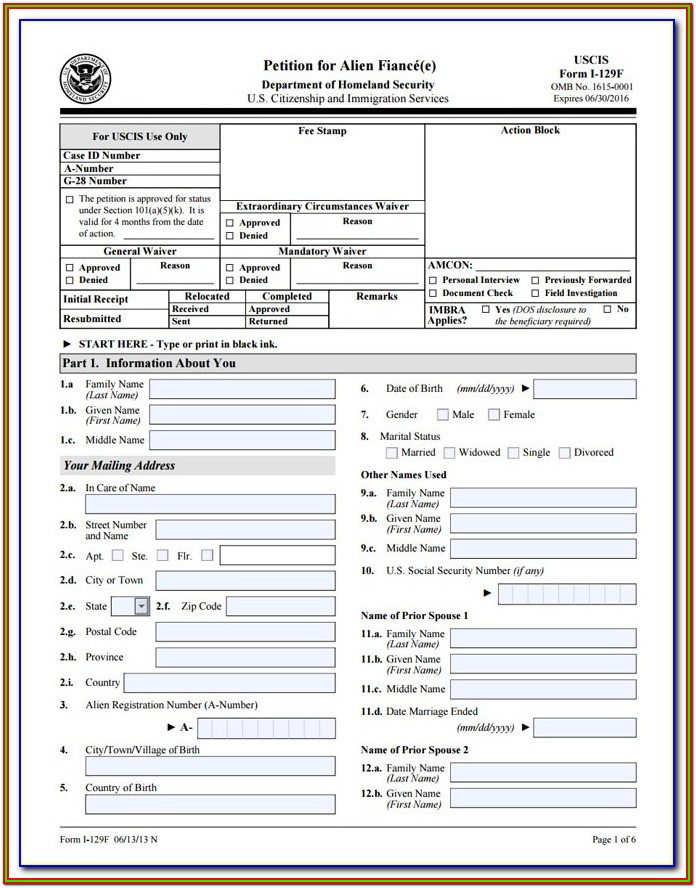 Immigration Form For Fiance Visa