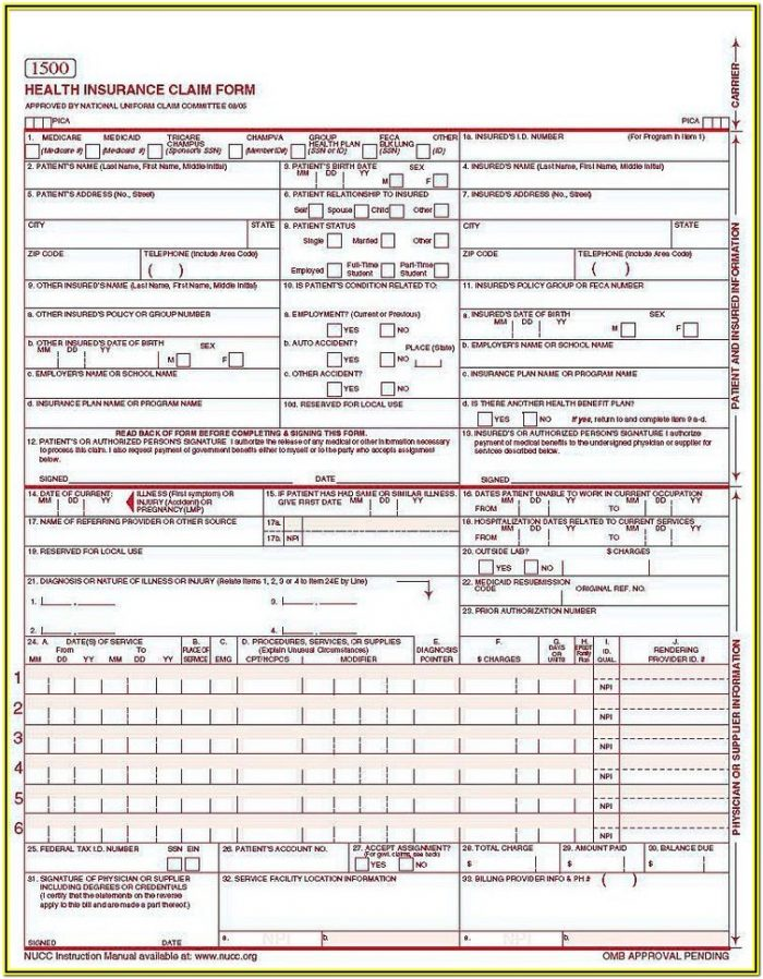 Medical Completed Cms 1500 Form Sample