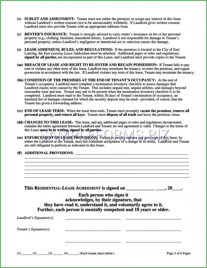Michigan Residential Lease Agreement Form