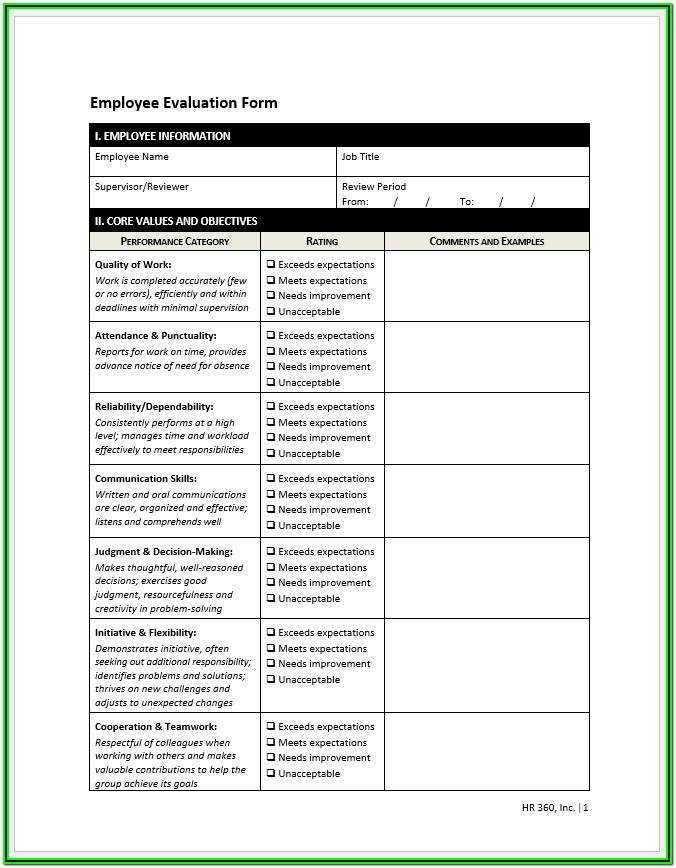 Printable Examples Of Employee Evaluation Forms