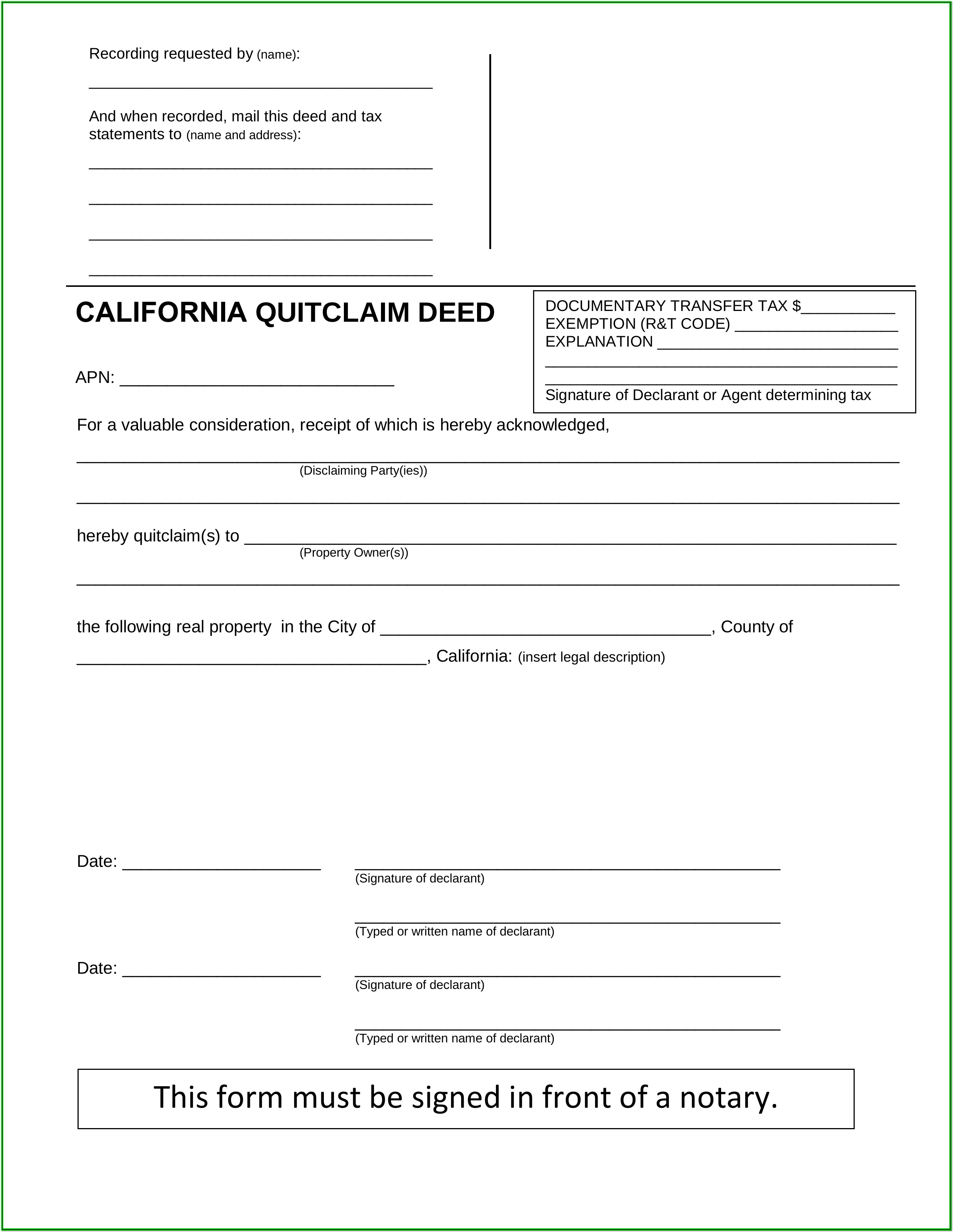 Quick Claim Deeds Forms