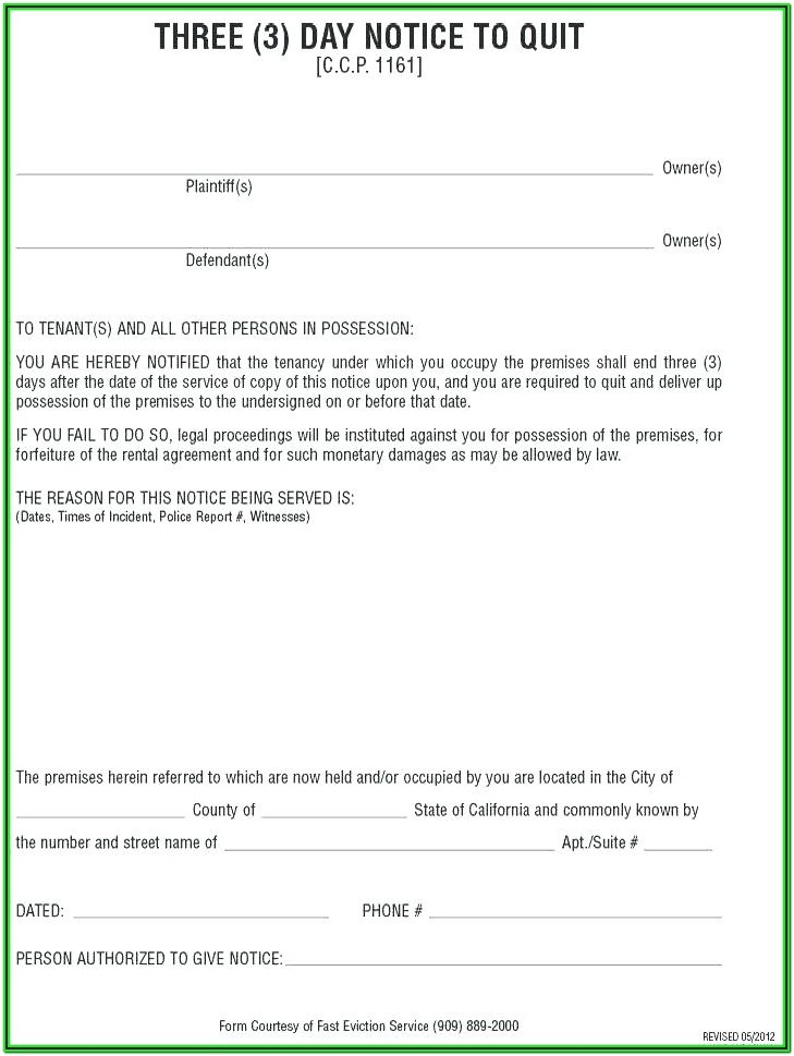 Renters Eviction Notice Form