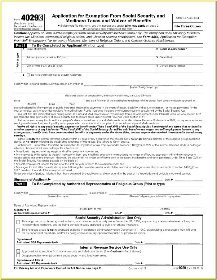 Social Security Medicare Application Form