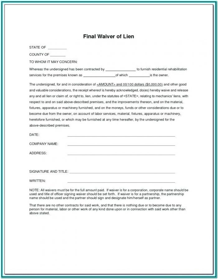 Subcontractor Release Of Lien Form Free